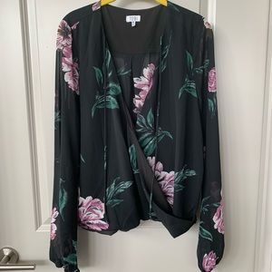 Floral Surplice Wrap Long Sleeve Blouse